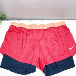 Nike Dri fit mesh layered athletic shorts